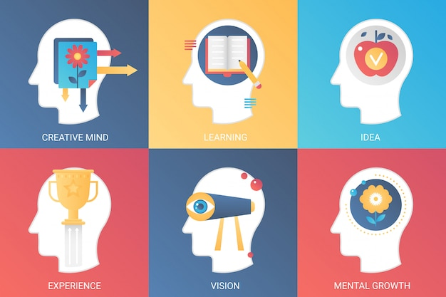 Vector concept heads creative mind, learning, idea, experience vision, mental growth. modern gradient flat style