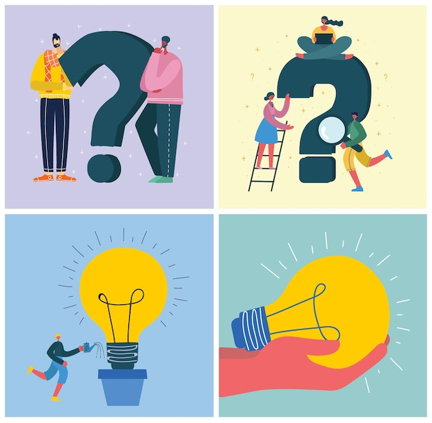 Vector concept illustration backgrounds of start up and big idea in flat style in the flat style