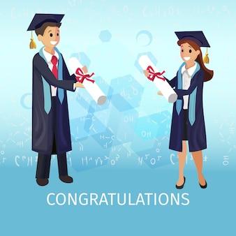 Vector concept illustration cartoon happy students