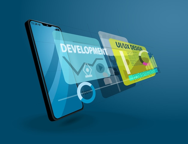 Векторная иллюстрация концепции технологий мобильного интерфейса и дизайна пользовательского опыта