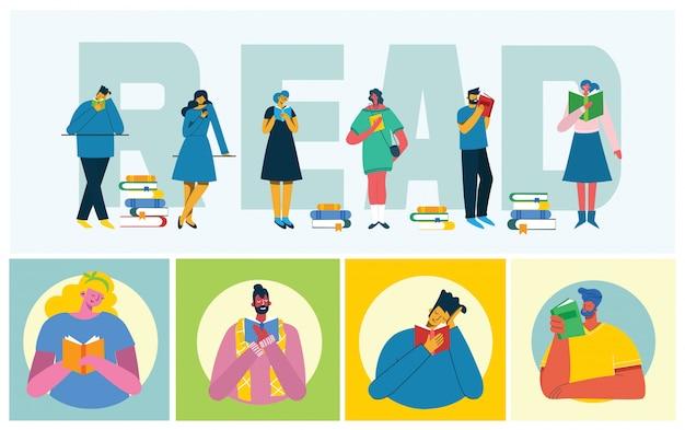Векторные иллюстрации концепции всемирного дня книги, чтения книг и книжного фестиваля в плоском стиле. люди сидят, стоят и гуляют и читают книгу в плоском стиле
