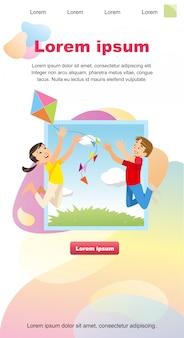 Векторное изображение концепции играя счастливые дети