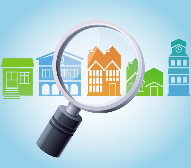 Vector concept - magnifying glass and home