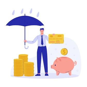 普通預金とみかじめ料のベクトルの概念お金のセキュリティが保証された預金