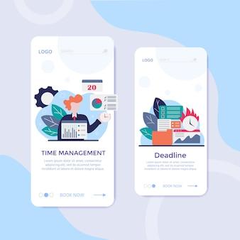 キャラクター、目覚まし時計、ビジネスタスク計画、スケジュールチェックポイント、プランナーを使用した作業時間管理のベクトル概念。イラストは、webバナー、インフォグラフィック、プレゼンテーションに使用できます