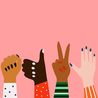 Vector concept of the struggle for equalitywomens hands of different ethnicities feminine concept