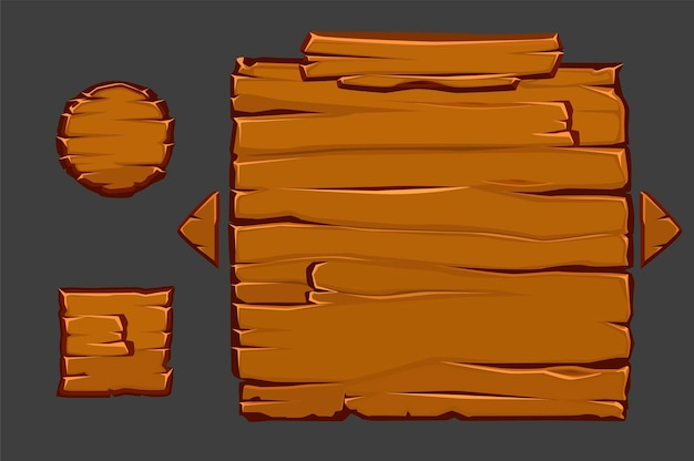 Vector concept of wooden user interface for game.