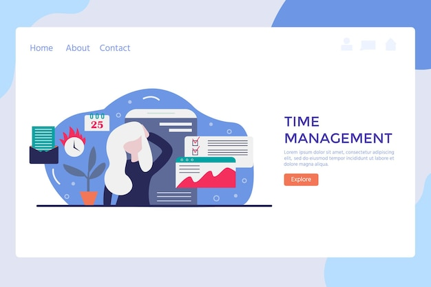 Vector concept of work time management with character, alarm clock, business task planning, schedule checkpoints, planner. illustration can be used for web banner, infographics, presentations