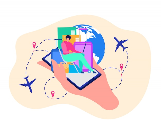 旅行者のためのモバイルアプリケーションvector concept