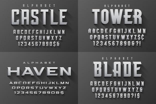 Vector condensed original display set of fonts design, alphabet