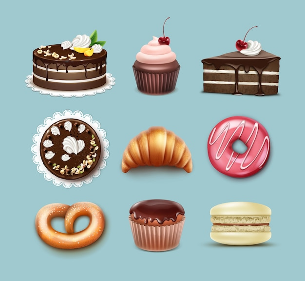 Set di pasticceria di vettore torta sfoglia al cioccolato, croissant francese, pretzel, cupcake con panna montata e ciliegia, muffin, macaron top, vista laterale isolata su sfondo blu