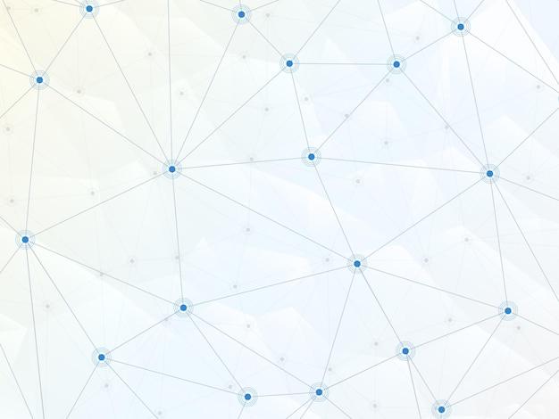 벡터는 추상적인 낮은 폴리 배경에 선과 점을 연결합니다. 기술 배경입니다.