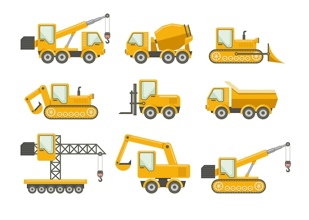 Vector construction icons set. bulldozer and machinery, truckload and crane, excavator and mixer