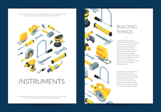 Vector construction tools flyer template