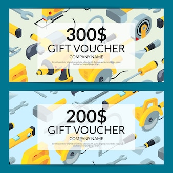 Vector construction tools gift voucher discount horizontal cards