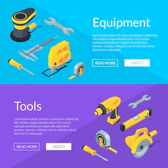 Vector construction tools isometric horizontal web banner template
