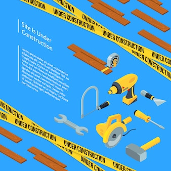 Vector under construction tools isometric with text template