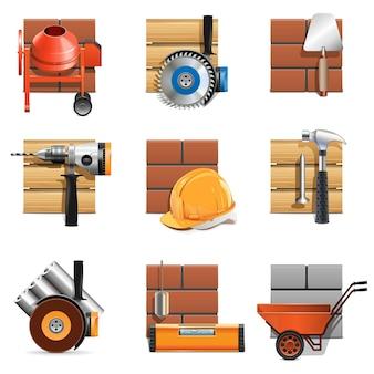 Векторные иконки строительных работ