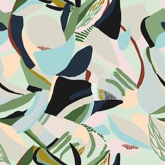 Вектор современной современной живописи кисти формы иллюстрации бесшовные повторять шаблон домашнего декора