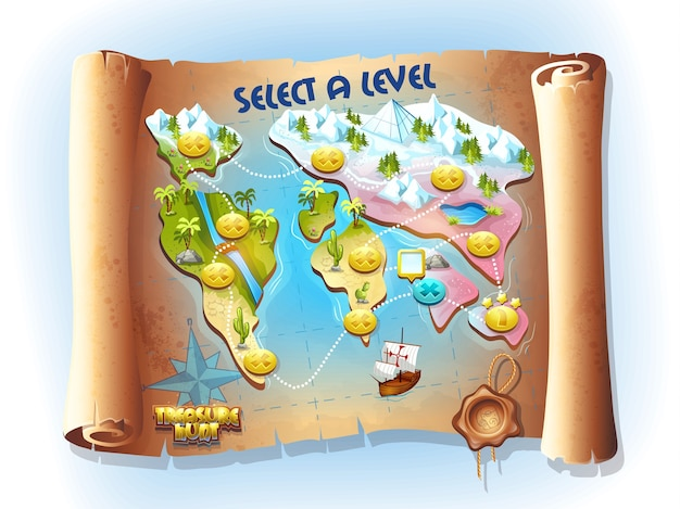 Vector continent colorful art map of treasure hunting