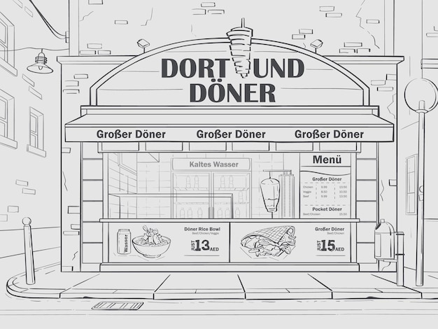 Vector contour background cafe in dortmund, germany. image of fast food cafe in black and white.