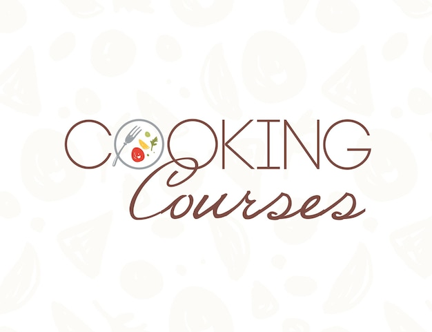 Vector cooking courses logo design template with plate, fork, healthy food isolated on light pattern backdrop. flat style. good for world cuisine courses, chief classes, restaurant advertising, banner