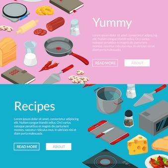 Vector cooking food isometric objects banners illustration