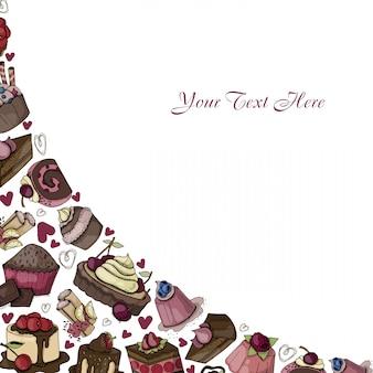 Векторная угловая рамка с пирожными