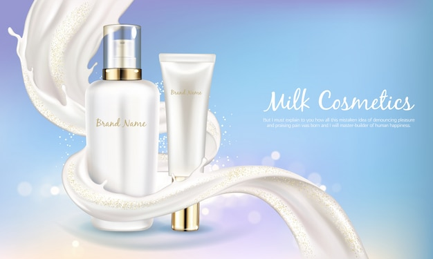 Vector cosmetic banner with realistic white bottle for skin care cream or body lotion.