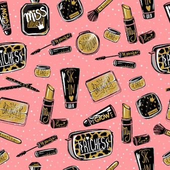 Vector cosmetics seamless pattern. fashion sketch style