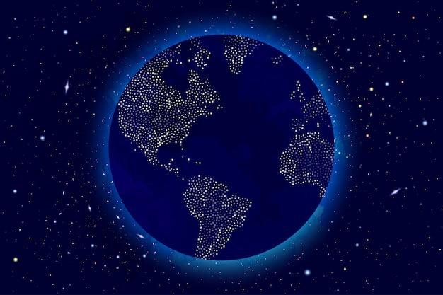 宇宙、銀河、太陽、惑星、星とベクトル宇宙図。