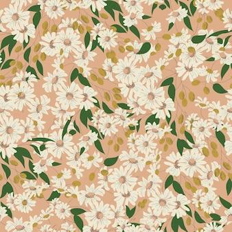 벡터 코스모스 꽃과 올리브 그림 모티브 원활한 반복 패턴 복고풍 분홍색 배경