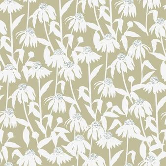 Vector cosmos flower illustration motif seamless repeat pattern digital file pattern artwork f