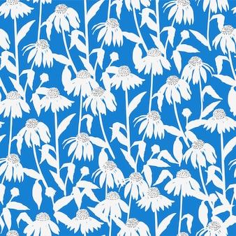 Vector cosmos flower illustration motif seamless repeat pattern digital file pattern artwork