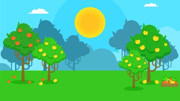 Векторный пейзаж страны с фруктовыми деревьями. яблочный сад.