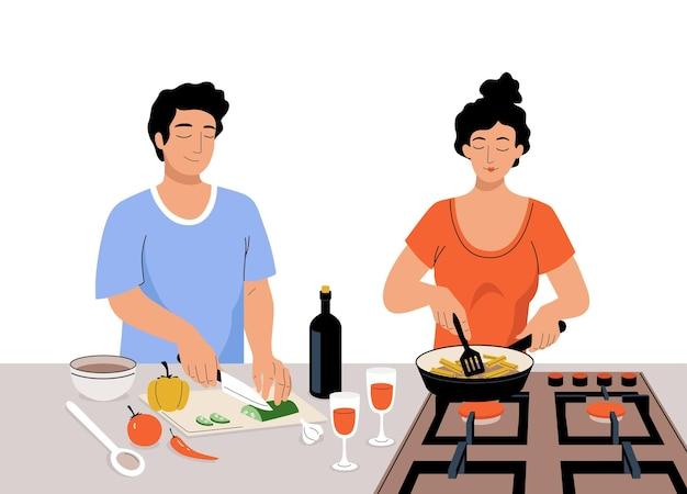 ベクトルカップル料理togeater。漫画の女性はストーブでジャガイモをローストし、男性はサラダ用に野菜を切る。自宅のキッチンで健康的な食事を準備している人。