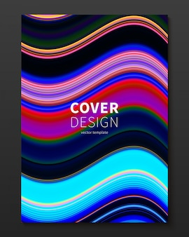 Vector cover design template with gradient color warped lines