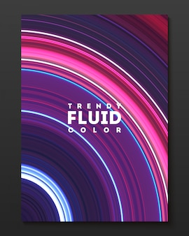Vector cover design template with gradient color warped lines.