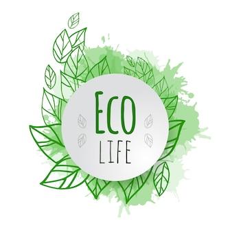 Крышка вектора с листьями зеленого цвета болвана и брызгами. эко жизнь