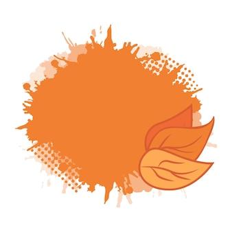 Вектор крышка с листьями и всплеск с пространством для текста.