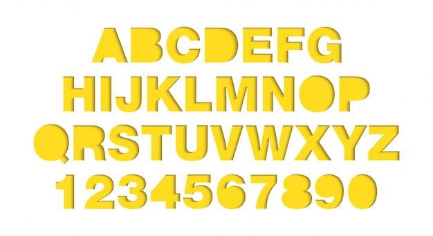 Vector craft paper cut yellow shapes font. typography alphabet