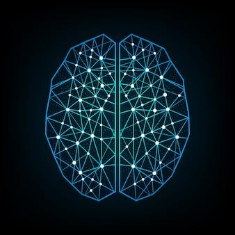 Vector creative blue color concept of the human brain design