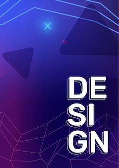 Вектор творческий синий цвет ретро иллюстрация с треугольником неоновая сетка звезда заголовок бизнес аннотация