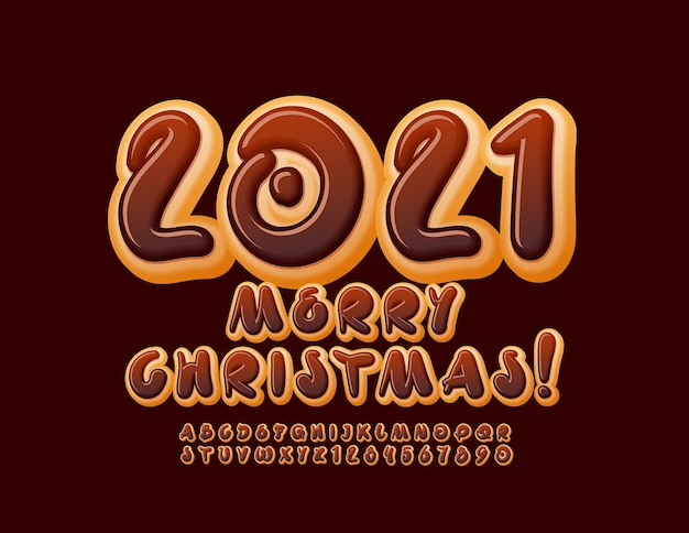 Vector creative greeting card merry christmas 2021! chocolate creative font. artistic donut alphabet letters and numbers