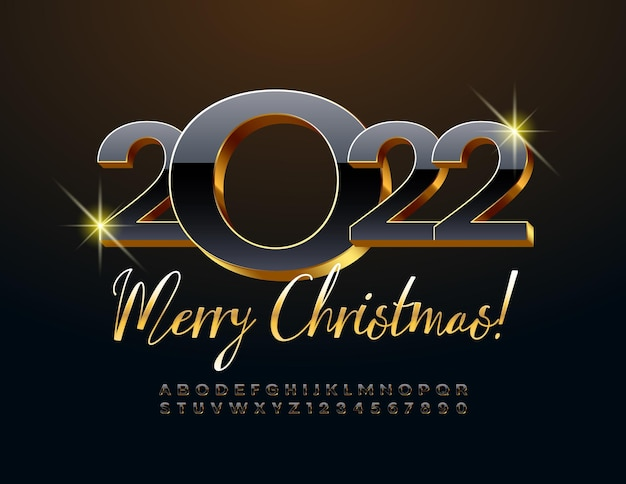 Vector creative greeting card merry christmas 2022 black and golden 3d alphabet letters and numbers