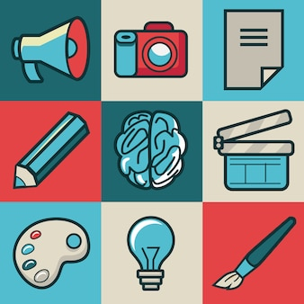 Vector creative icons - collection in retro style