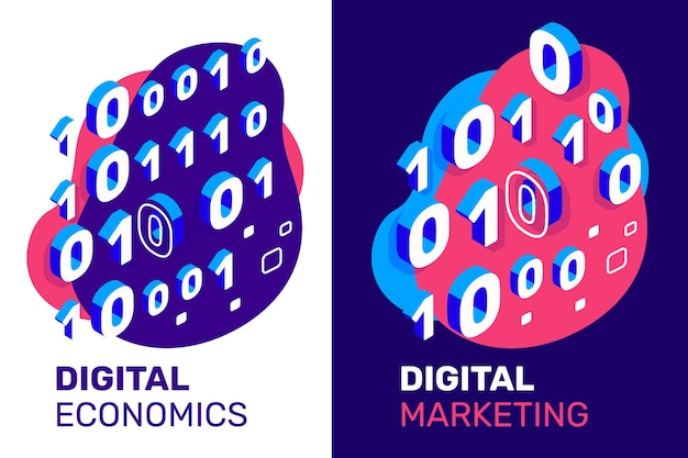 Vector creative illustration of binary code with text on color background. 3d style design of one and zero isometric number for web, site, banner, conference, presentation