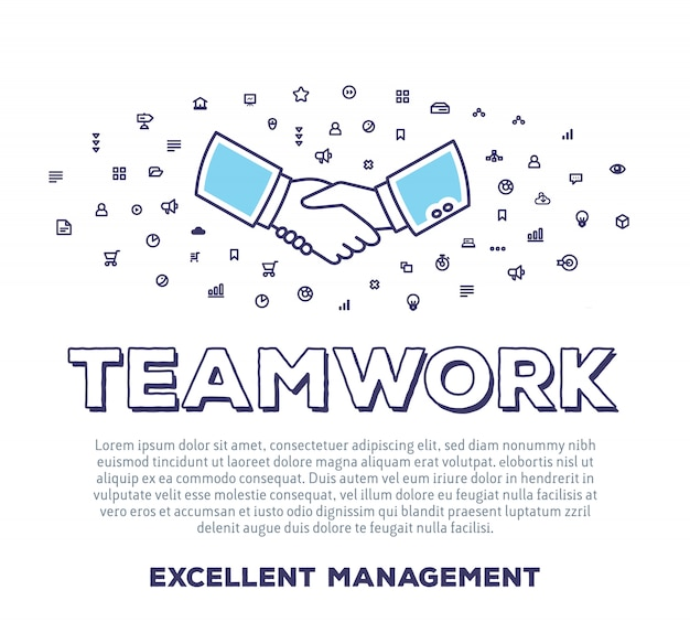 Vector creative illustration of handshake with word typography, cloud of line icons on white background. business teamwork