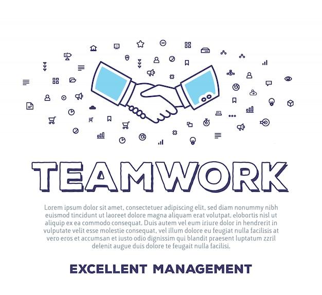 Векторная иллюстрация творческого рукопожатия с типографикой слова, облако значков линии на белом фоне. деловая командная работа