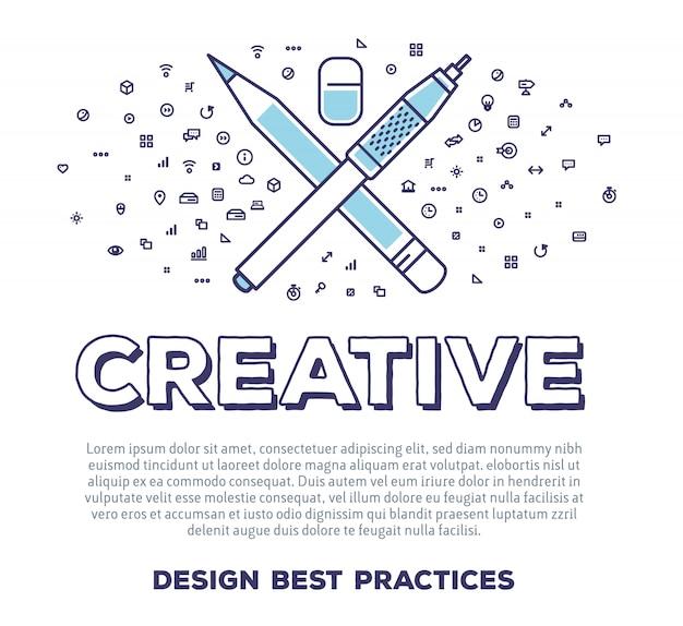 Векторная творческая иллюстрация пера и карандаша с типографикой слова и облаком линейных иконок на белом фоне. творческая идея